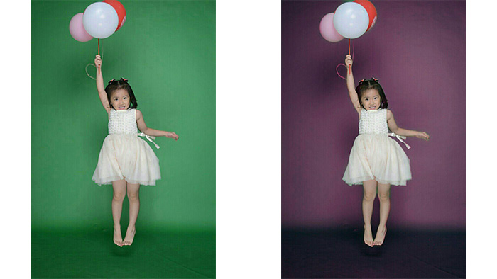 change background, green background, purple background, girl with balloons, photo editing example