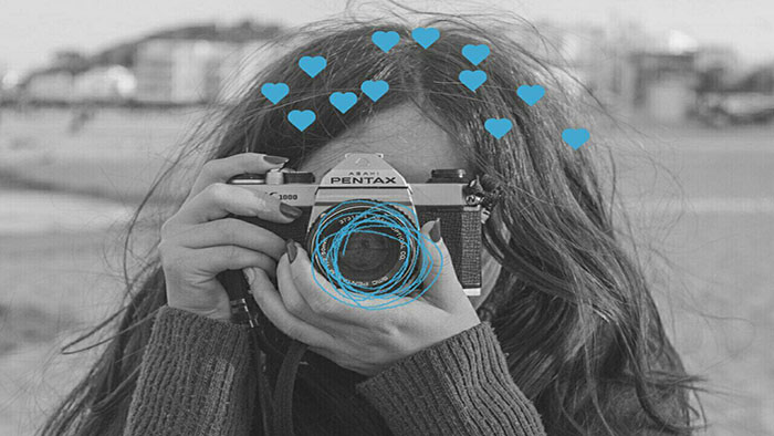 black and white picture, girl camera, photography, photographer, doodles on photos, LightX App, doodle app