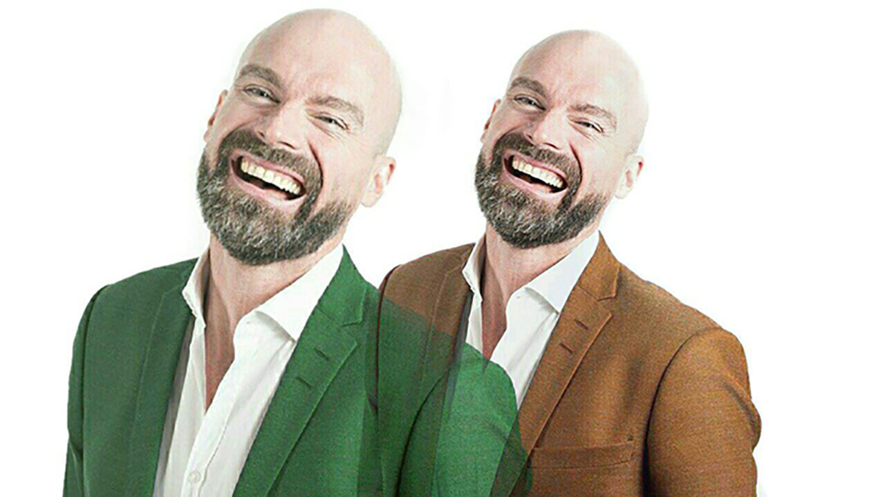 double exposure portrait, double exposure effect, man portrait, man laughing, white background, LightX App