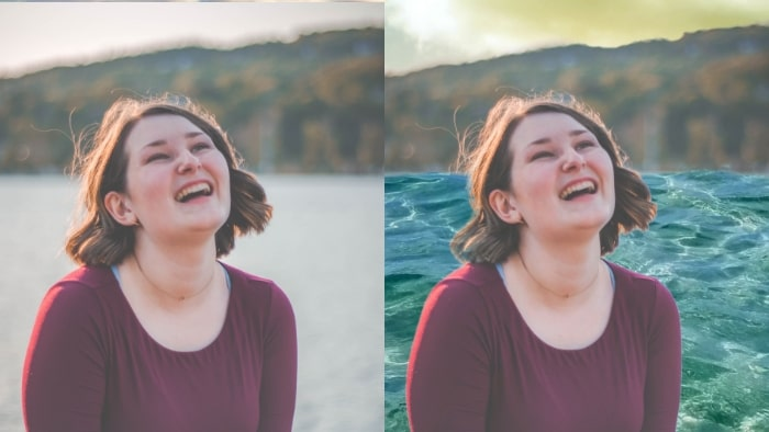 change picture background, girl, girl laughing, water background, water backdrop, girl portrait, humans, humans smiling, girl smiling, LightX App, change image background, change image background