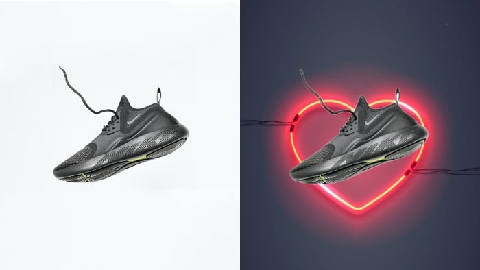 product photography, product marketing, product advertising, shoe, shoe photography, LightX app, change picture backdrop