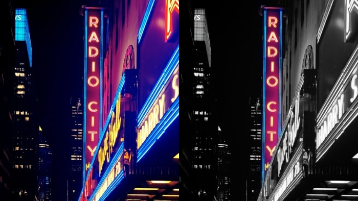color pop app, color pop effect, color pop effect app, neon signs, neon sign buildings, neon