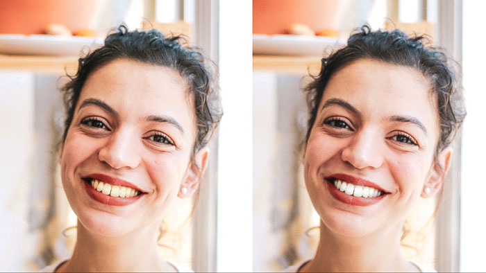 how to whiten teeth in photos, how to fix teeth in photos, LightX App, mobile photo editor, woman laughing, girl laughing, woman close up, close up shot