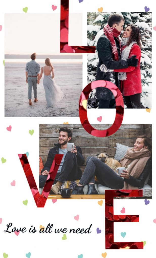 valentines day photocards, valentines day stickers, valentines day frames, photo collage, collage maker app, collage maker online